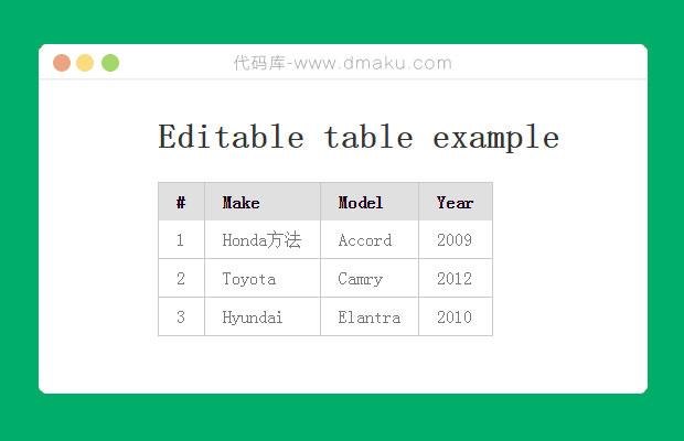 jQuery可编辑HTML表格插件