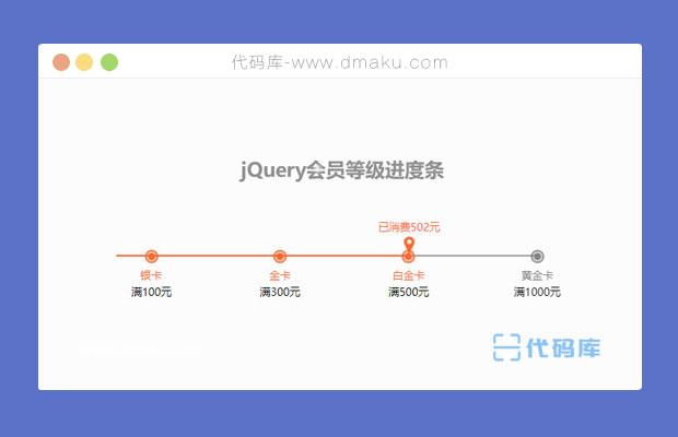 jQuery会员等级消费进度条代码