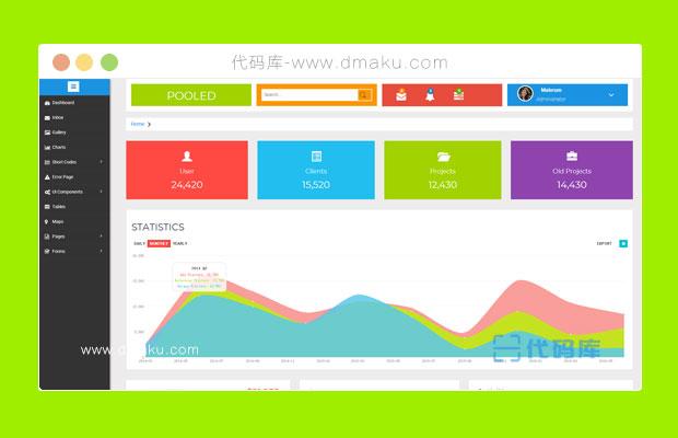 扁平化后台管理系统页面html源码模板