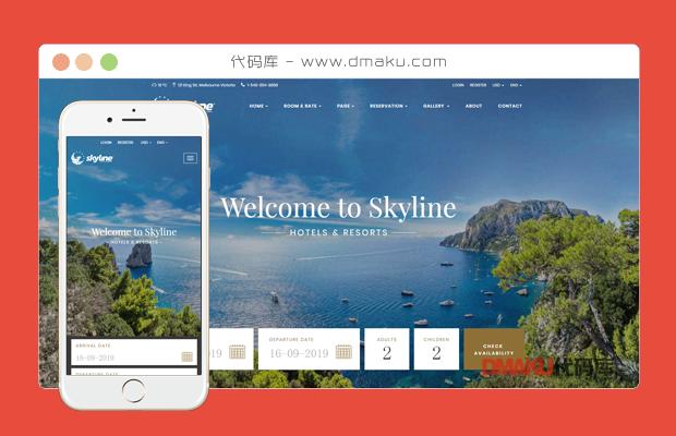 html5酒店假日住店html静态页面源码模板网站